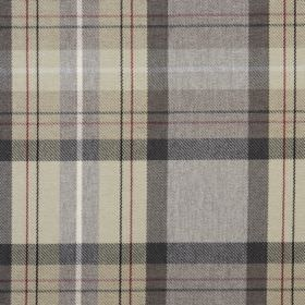 Cairngorm - Slate - Checked fabric featuring a design in beige and dark shades of grey on 100% polyester