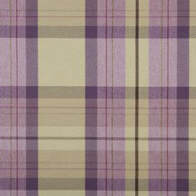 Cairngorm - Thistle - Fabric made from checked 100% polyester in light gold andrich purple shades