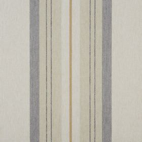 Glenfinnan - Oatmeal - Vertically striped 100% polyester fabric featuring bands ofcream, beige, grey and gold
