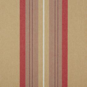 Glenfinnan - Cardinal - Gold, brown, red and white coloured fabric made from 100% polyester with a vertically striped design