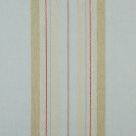 Glenfinnan - Duck Egg - Pale shades of blue, green and grey making up a vertical stripe design on fabric made entirely from polyester