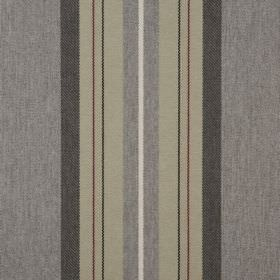 Glenfinnan - Slate - White, beige and charcoal coloured stripes printed vertically on dark grey coloured fabric made from 100% polyester