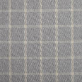 Halkirk - Pebble - Cream vertical lines and pale grey horizontal lines on a dark grey 100% polyester fabric background