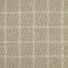 Halkirk - Oatmeal - Coffee coloured 100% polyester fabric behind cream coloured horizontal lines and pale pink vertical lines