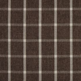Halkirk - Bracken - A checked pattern created by simple cream coloured horizontal and vertical lines on rich dark brown 100% polyester fabric