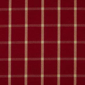 Halkirk - Cardinal - 100% polyester fabric in deep burgundy, patterned with a simple checked design created bylight yellow and grey lines