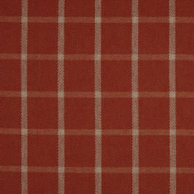 Halkirk - Auburn - Cream and light brown lines creating a simple checked pattern on 100% polyester fabric in a dark terracotta colour