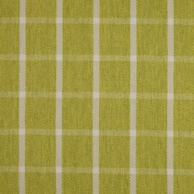 Halkirk - Moss - Lime green coloured 100% polyester fabric covered with a simple light grey and green checked pattern