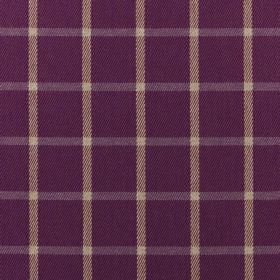 Halkirk - Thistle - Pale cream and purple coloured lines creating simple checks on Royal purple coloured 100% polyester fabric