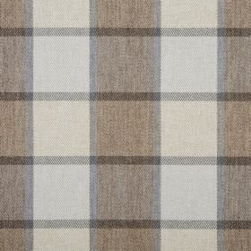 Solway - Bracken - 100% polyester fabric featuring a striped, checked design in cream, brown and two shades of grey