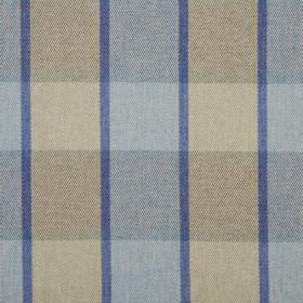 Solway - Loch - Fabric made from 100% polyester, covered with simple stripes and checks in light shades of brown and blue