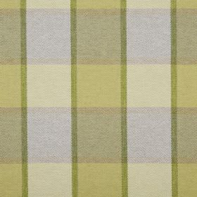Solway - Moss - Lime green, light green, olive green and light grey stripes making up a checked pattern on 100% polyester fabric