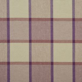 Solway - Thistle - 100% polyester fabric featuring a simple checked design in cream, brick red and purple shades