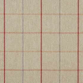 Brodie - Auburn - Straw coloured 100% polyester fabric behind a very simple checked design made up of thin grey, red and orange lines