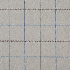 Brodie - Loch - Royal blue, light blue, green and dark brown lines making up a simple checked pattern on light grey 100% polyester fabric