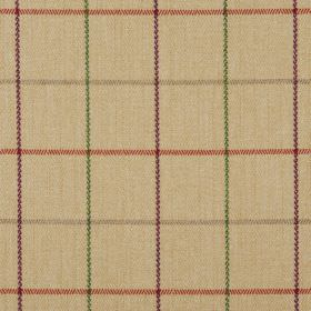 Brodie - Sand - 100% polyester fabric the colour of honey patterned with a simple lined checked pattern in orange, purple, green and brown
