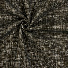 Himalayas - Noire - Charcoal and dark brown coloured woven polyester, acrylic and viscose blend fabric
