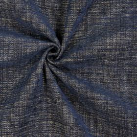 Himalayas - Denim - Fabric made from white, navy and dark brown polyester, acrylic and viscose