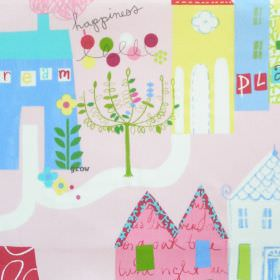 Home Sweet Home - Petal - Pale pink cotton fabric with blue white and yellow houses and pathway pattern