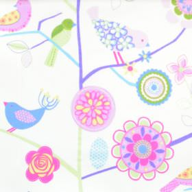 Lapwing Lane - Lavender - White cotton kids fabric with bird plant and flower design in purple and pink