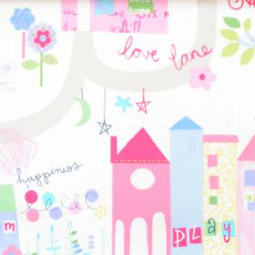Home Sweet Home - Chintz - White cotton childrens fabric with pink and blue home sweet home pattern