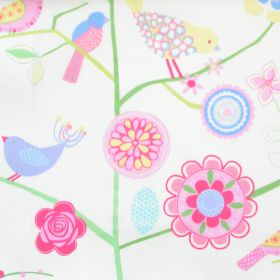 Lapwing Lane - Chintz - White cotton kids fabric with bird plant and flower design in green blue and pink