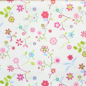 Florie - Petal - White cotton fabric with childrens pink and green floral print