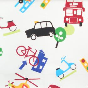 Taxi - Primary - White cotton kids fabric with multicolour transport motifs