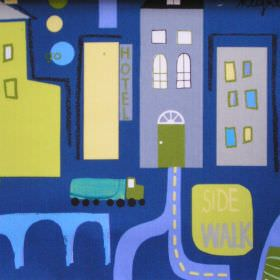 City Life - Denim - Dark blue cotton kids fabric with green and grey city design