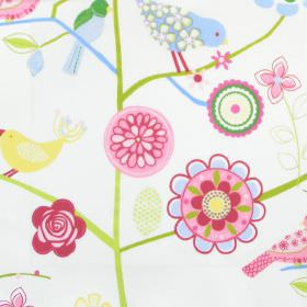 Lapwing Lane - Petal - White cotton kids fabric with bird plant and flower design in green and pink