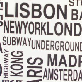 Metro - Graphite - White cotton kids fabric with black metro city text