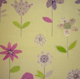 Summer Meadow - Lavender - Pale green 100% cotton fabric scattered with plain and patterned simple flowers & tulips in green, pink & purple