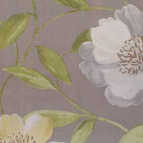 Honolulu - Chartreuse - White and yellow floral pattern on light grey fabric