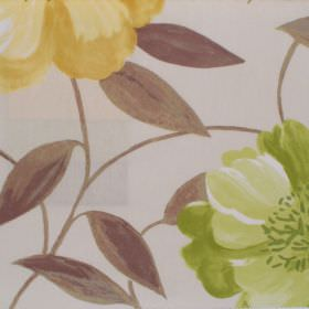 Honolulu - Primose - Primrose yellow floral pattern on deep white fabric