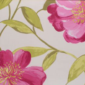 Honolulu - Fuschia - Fuchsia pink floral pattern on deep white fabric