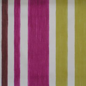Bali - Damson - Damson purple and green striped fabric