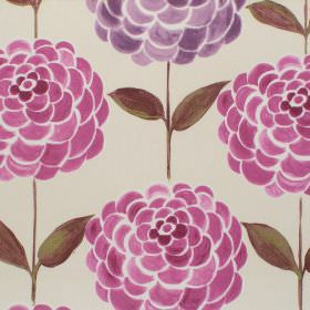 Tijuana - Damson - Damson purple modern floral pattern on deep white fabric