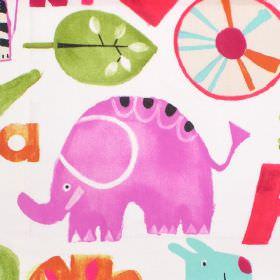Escape - Tropical - White cotton fabric with pink and red animal pattern