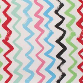 Zig Zag - Vintage - Simple modern colourful zigzag lines on white fabric