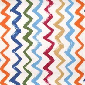 Zig Zag - Denim - Simple modern green and denim blue zigzag lines on white fabric