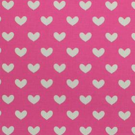 Daisy - Fuchsia - White hearts on fuchsia pink fabric