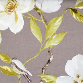 Chinoise - Moleskin - Beautiful floral patterns with white blooms and grass green leaves on a stormy grey 100% cotton fabric background