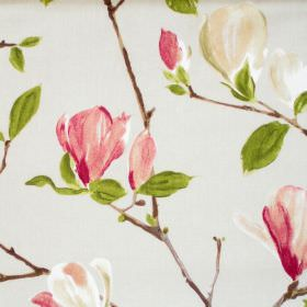 Sayuri - Chintz - Light green fabric with chintz pink flowers on branches