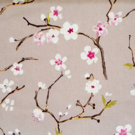 Emi - Mulberry - Light grey fabric with mulberry purple flowers on branches