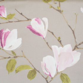 Sayuri - Mulberry - Light grey fabric with mulberry purple flowers on branches