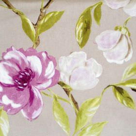 Chinoise - Amethyst - Flowers, branches and leaves printed on 100% cotton fabric in white, cloud grey, grass green and rich lilac colours