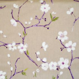 Emi - Amethyst - Sandy fabric with amethyst flowers on branches
