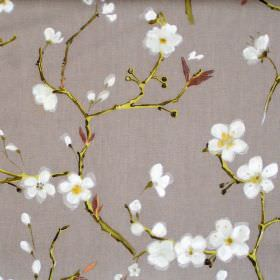 Emi - Moleskin - Moleskin grey fabric with flowers on branches