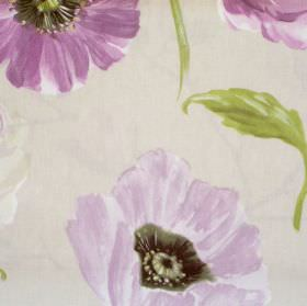 Takara - Lavender - Sandy fabric with lavender purple flowers
