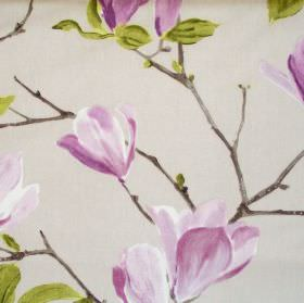 Sayuri - Lavender - Sandy fabric with lavender purple flowers on branches
